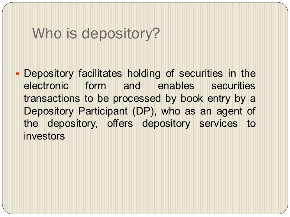 Who is depository