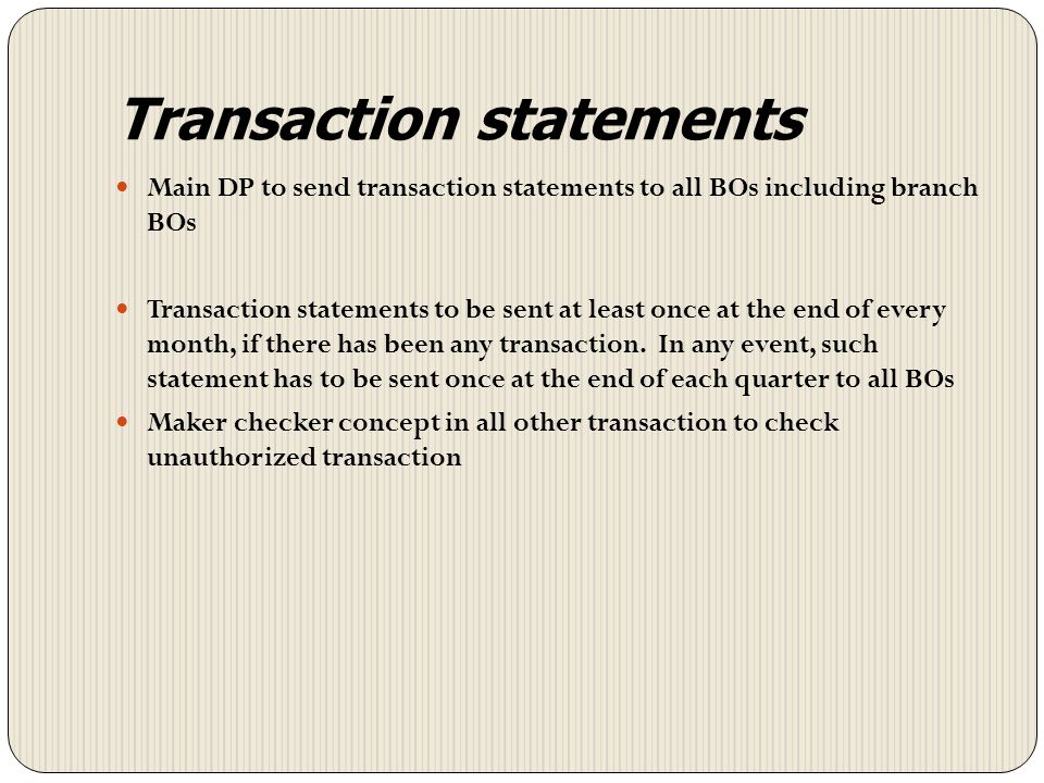 Transaction statements
