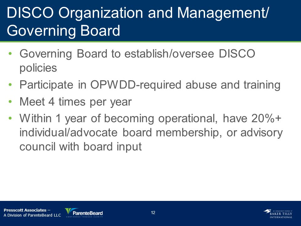 DISCO Organization and Management/ Governing Board