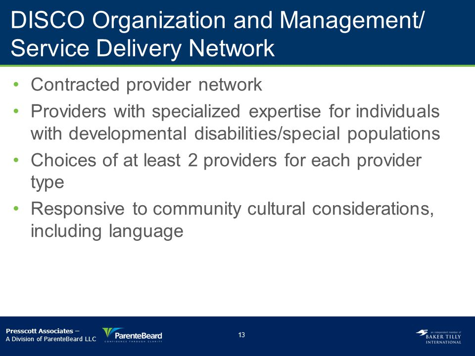 DISCO Organization and Management/ Service Delivery Network