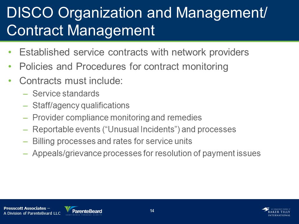 DISCO Organization and Management/ Contract Management