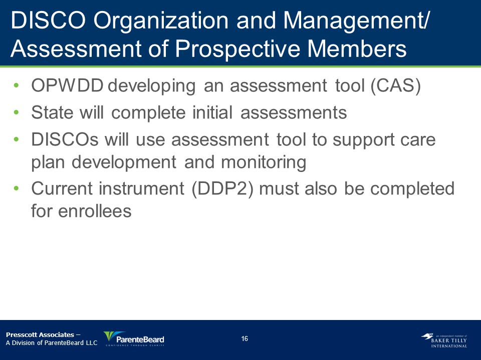 DISCO Organization and Management/ Assessment of Prospective Members