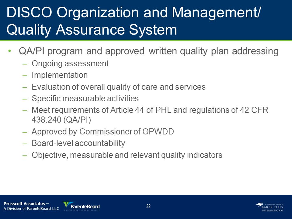 DISCO Organization and Management/ Quality Assurance System