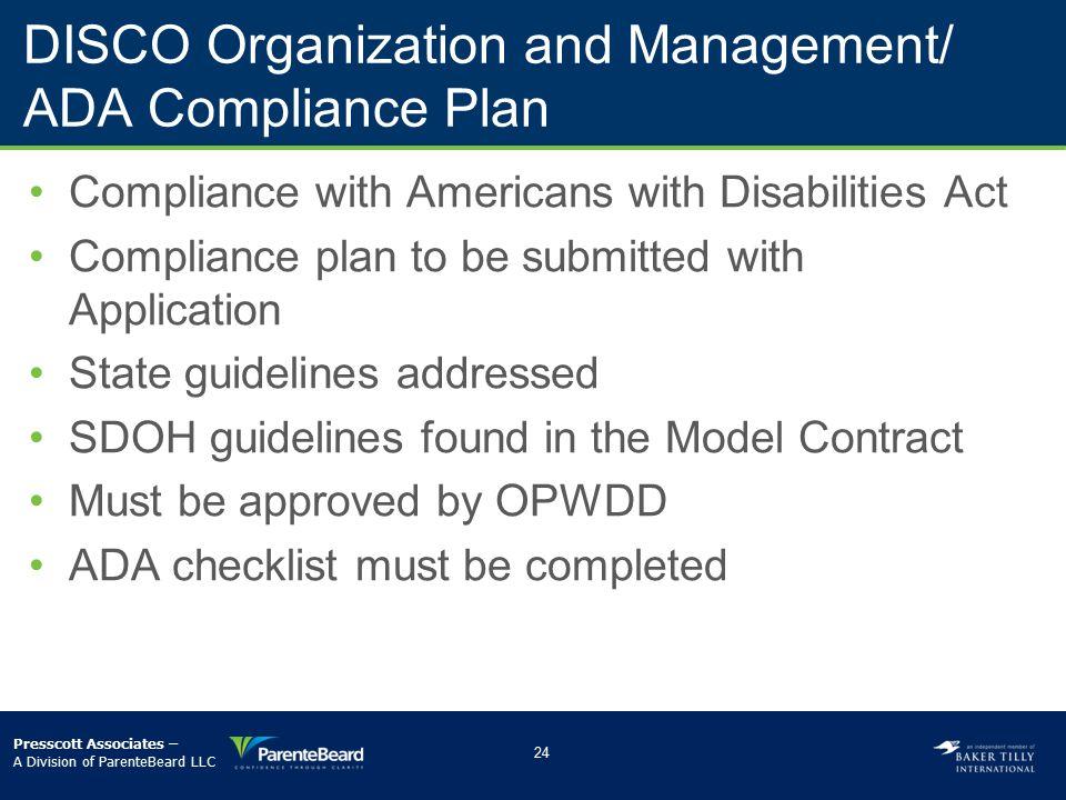 DISCO Organization and Management/ ADA Compliance Plan