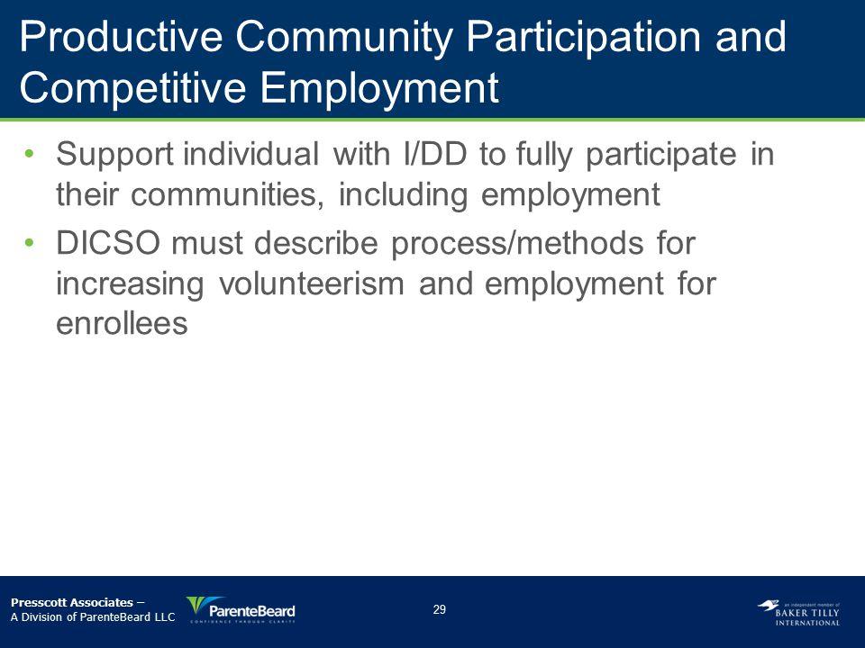Productive Community Participation and Competitive Employment