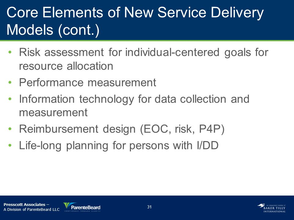 Core Elements of New Service Delivery Models (cont.)