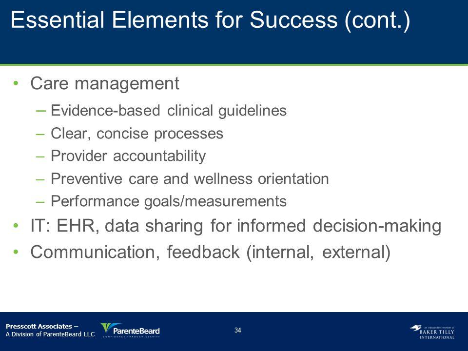 Essential Elements for Success (cont.)
