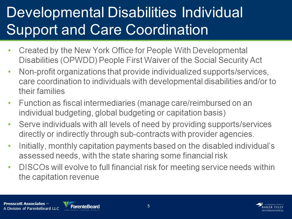 Developmental Disabilities Individual Support and Care Coordination Organizations (DISCOs)
