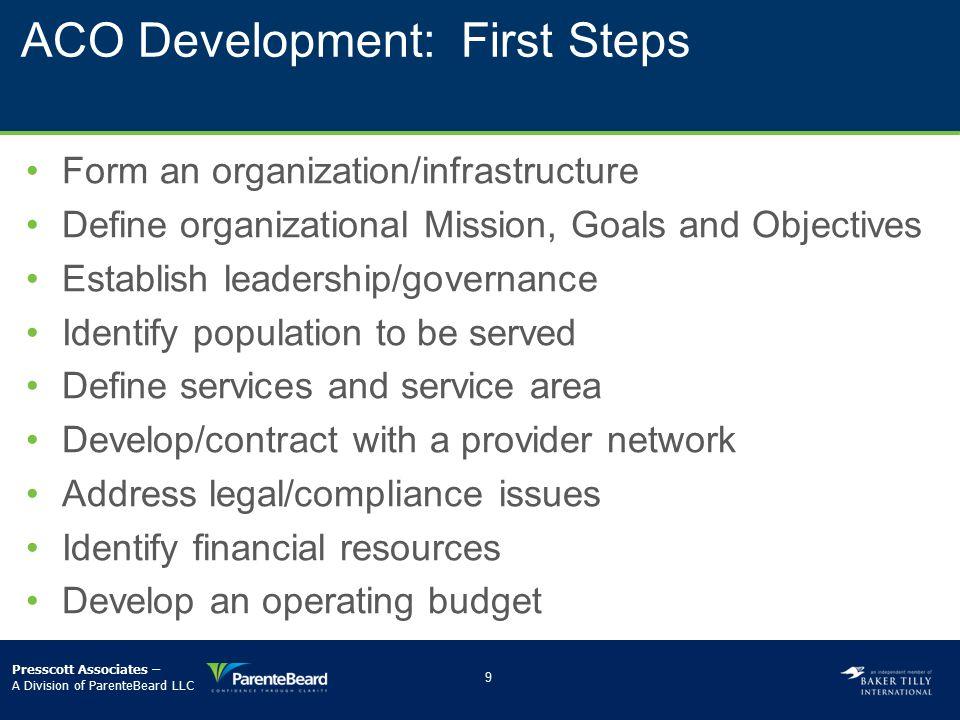 ACO Development: First Steps