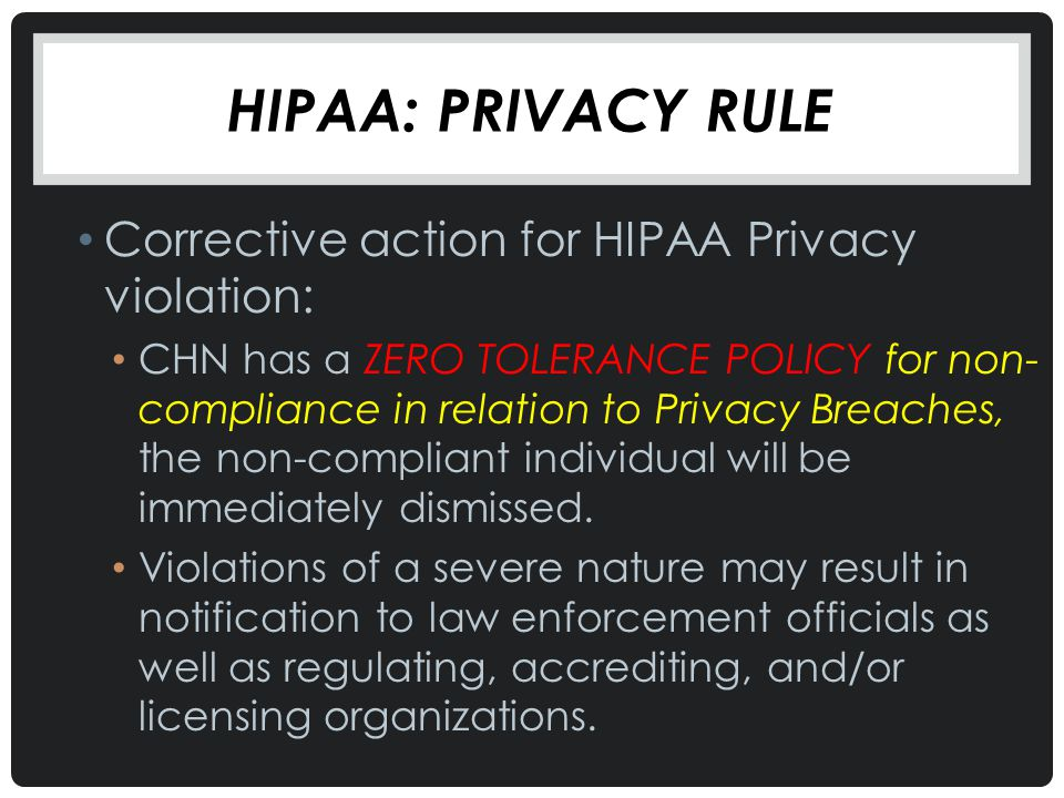 Hipaa: Privacy Rule Corrective action for HIPAA Privacy violation: