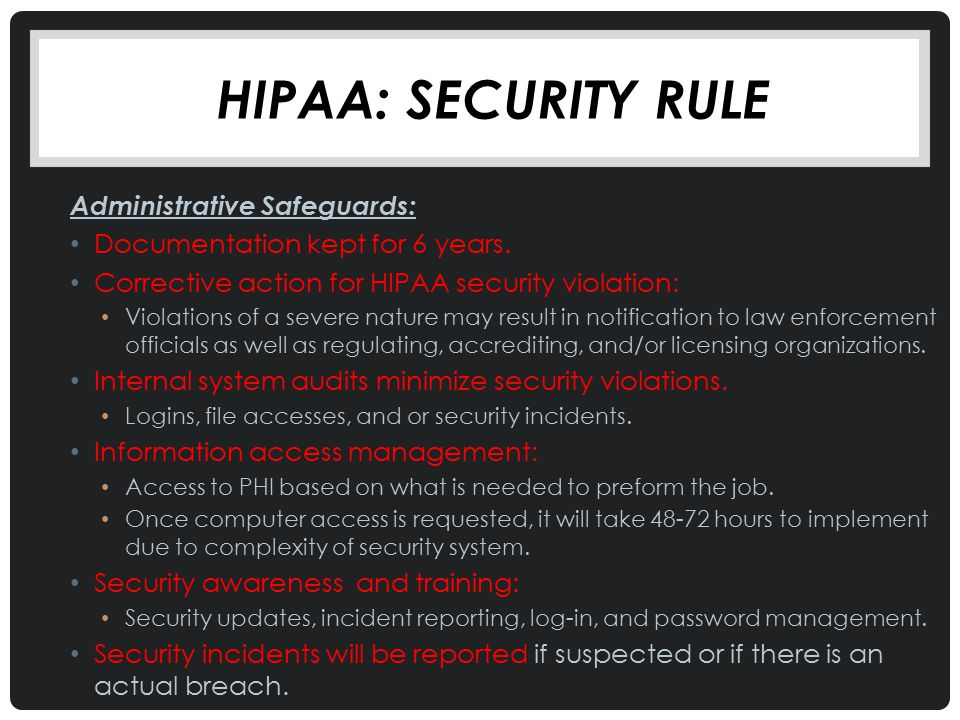 HIPAA: Security Rule Administrative Safeguards: