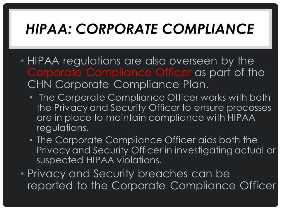 Hipaa: Corporate Compliance
