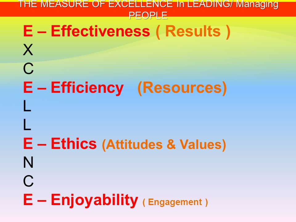 THE MEASURE OF EXCELLENCE In LEADING/ Managing PEOPLE