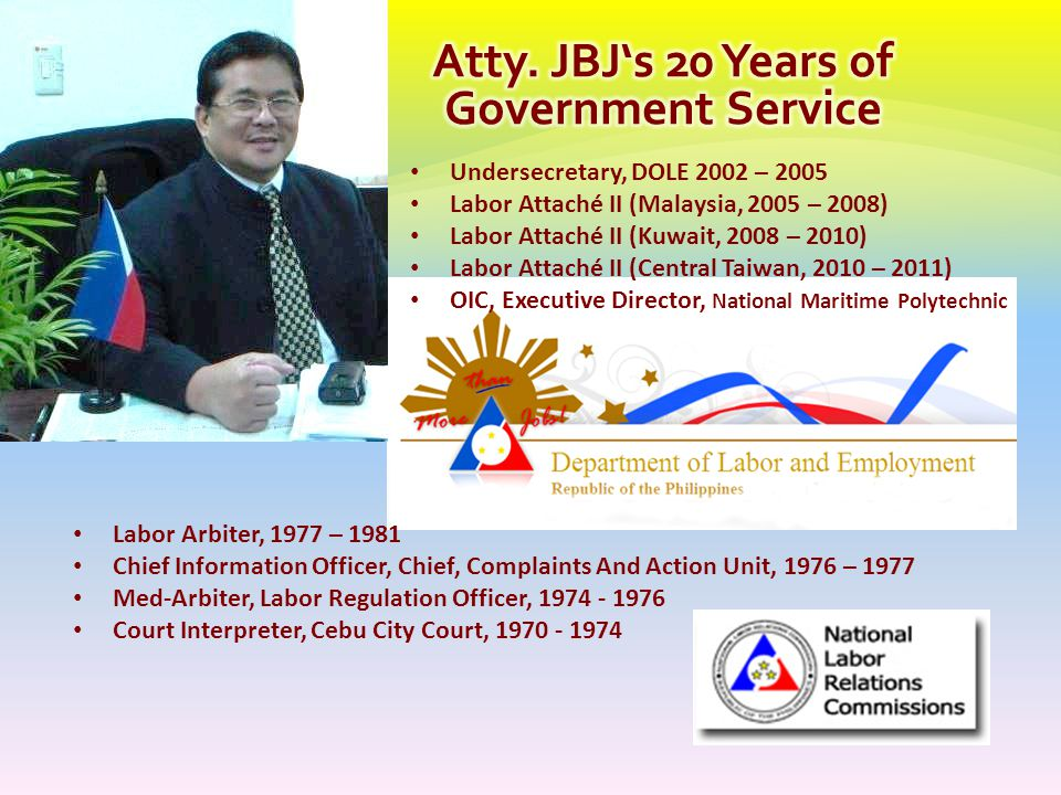 Atty. JBJ's 20 Years of Government Service