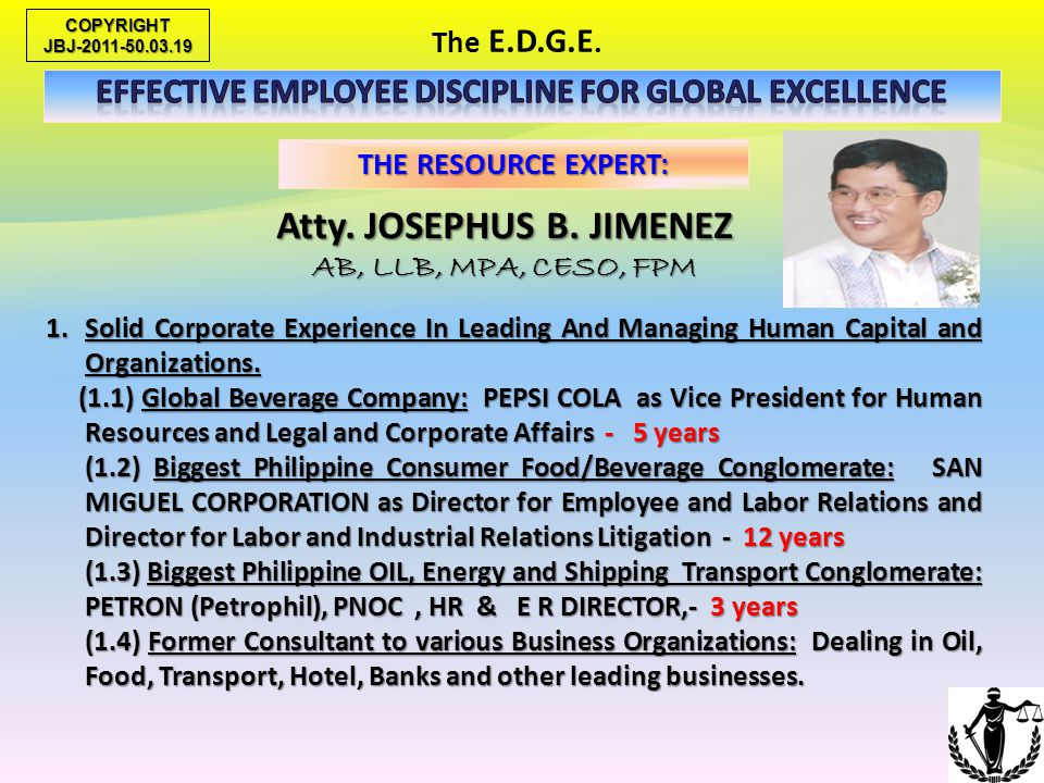 EFFECTIVE EMPLOYEE DISCIPLINE FOR GLOBAL EXCELLENCE