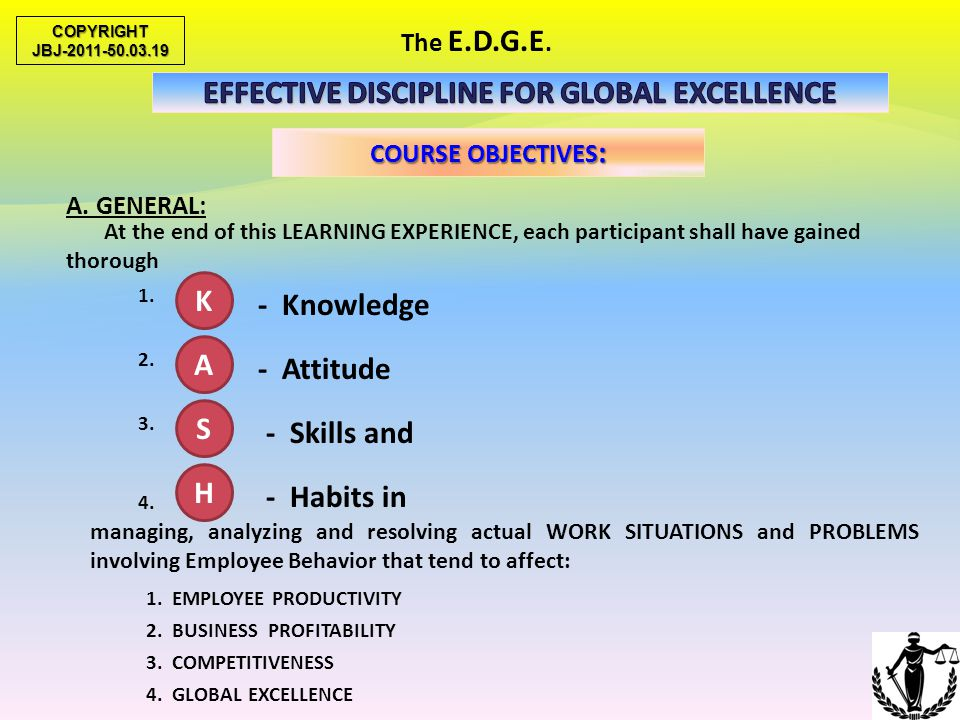 EFFECTIVE DISCIPLINE FOR GLOBAL EXCELLENCE