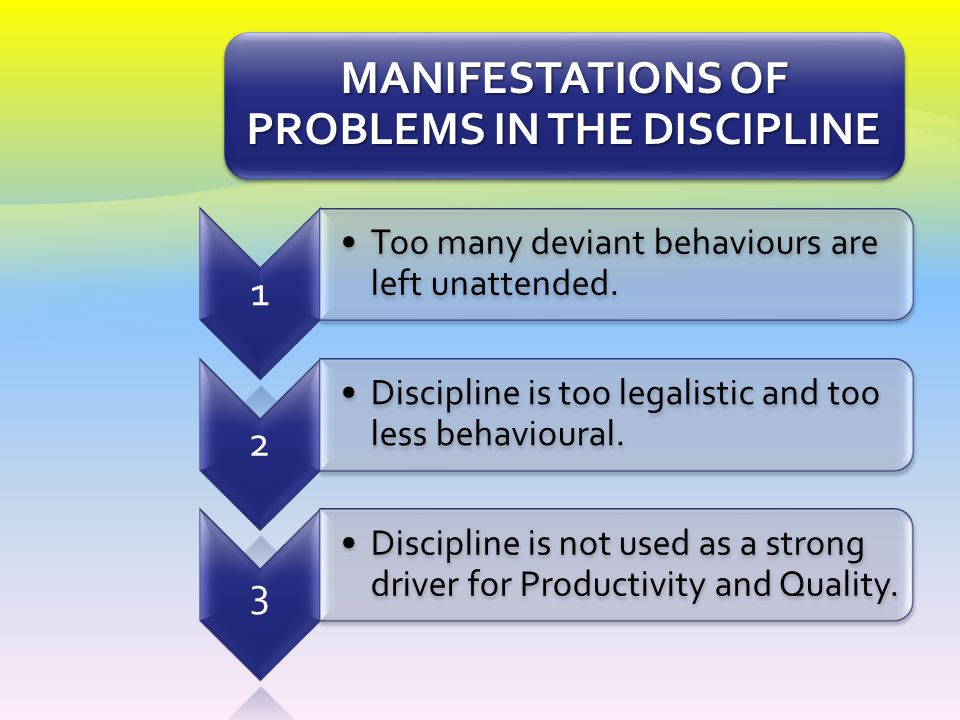 MANIFESTATIONS OF PROBLEMS IN THE DISCIPLINE