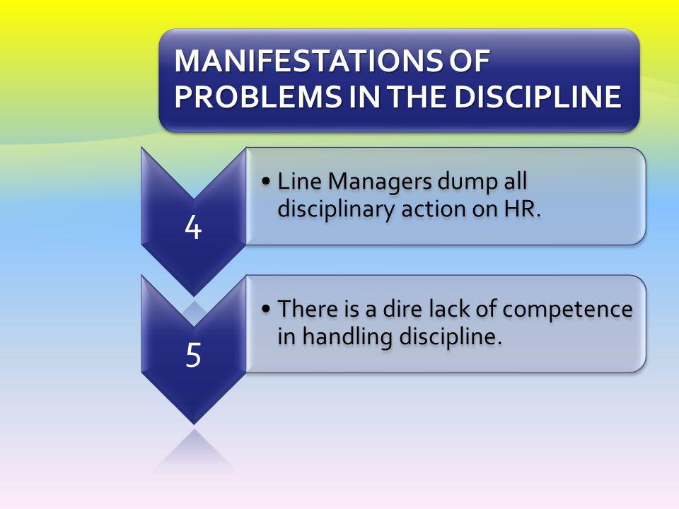 4 5 MANIFESTATIONS OF PROBLEMS IN THE DISCIPLINE