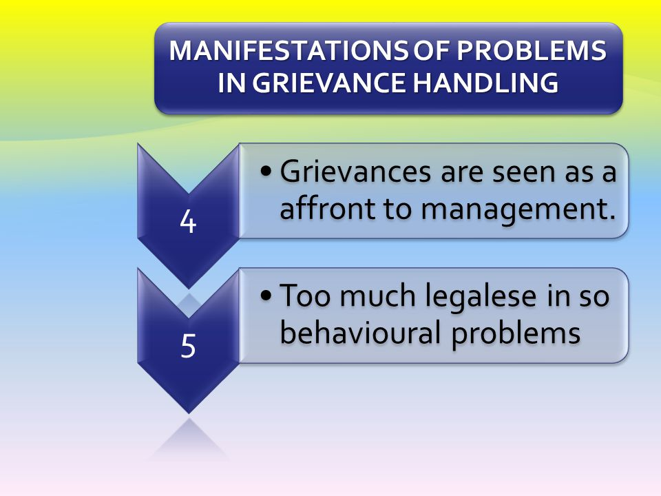 MANIFESTATIONS OF PROBLEMS IN GRIEVANCE HANDLING