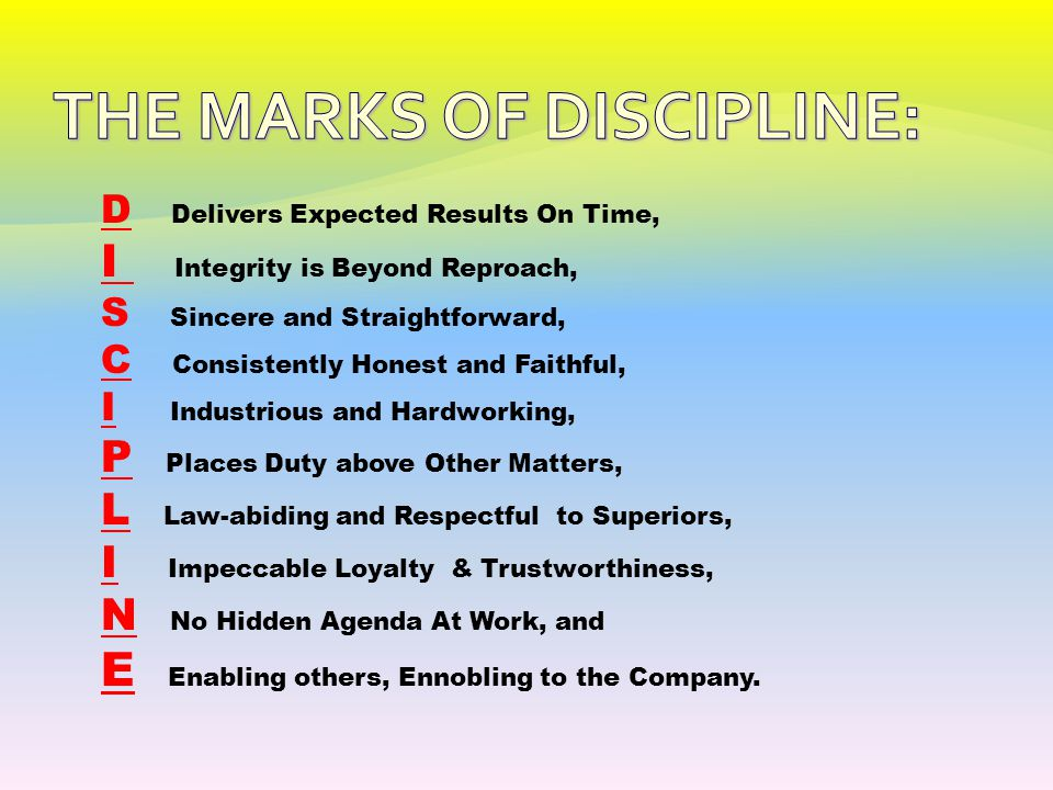 THE MARKS OF DISCIPLINE: