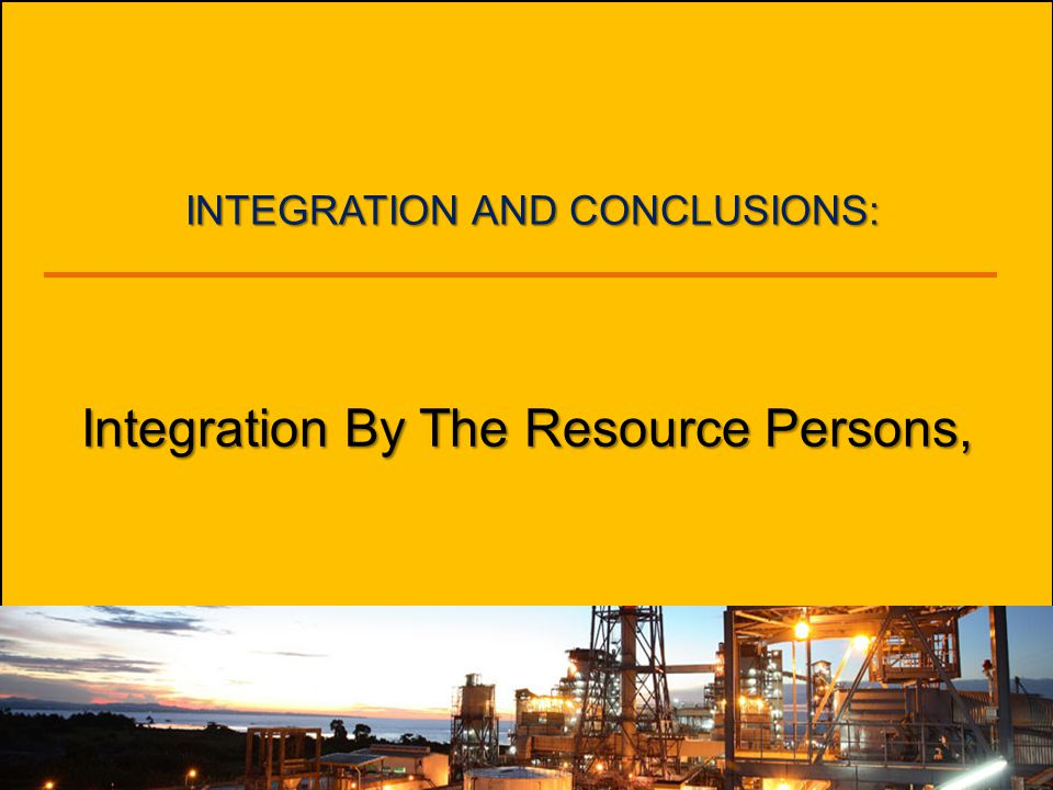 Integration By The Resource Persons,