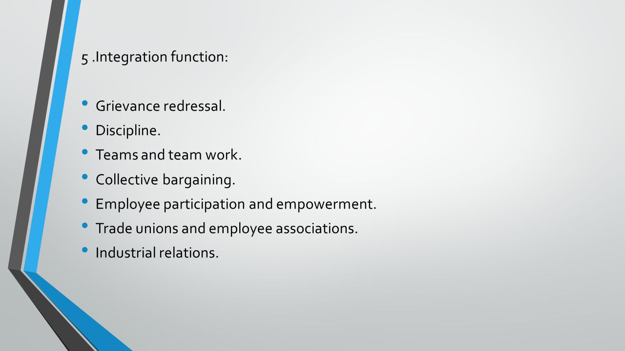 5 .Integration function: