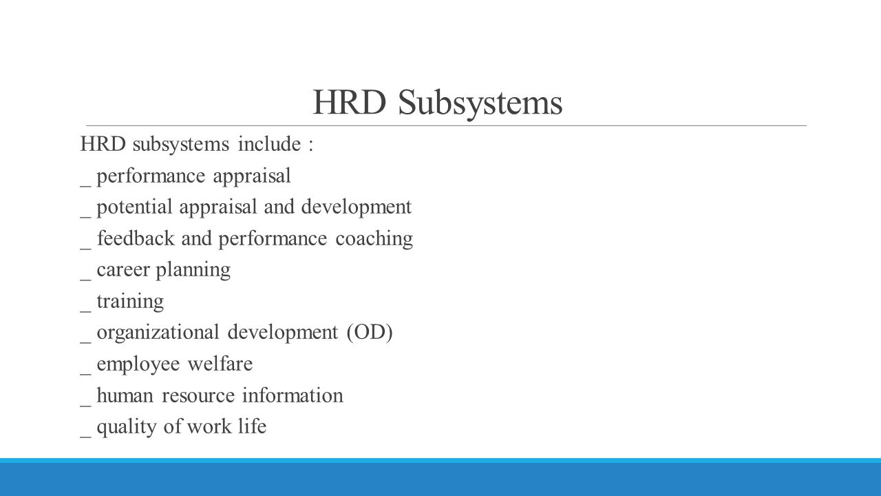 HRD Subsystems