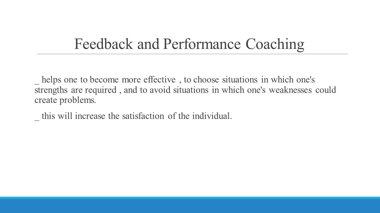 Feedback and Performance Coaching