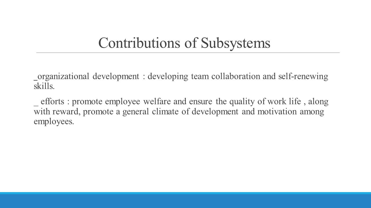 Contributions of Subsystems