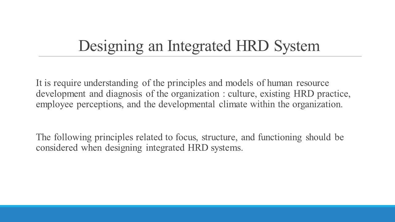 Designing an Integrated HRD System