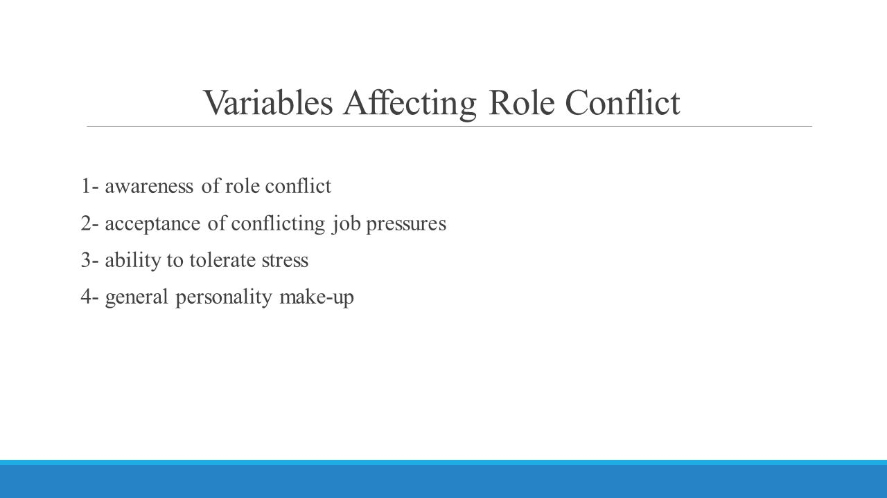 Variables Affecting Role Conflict