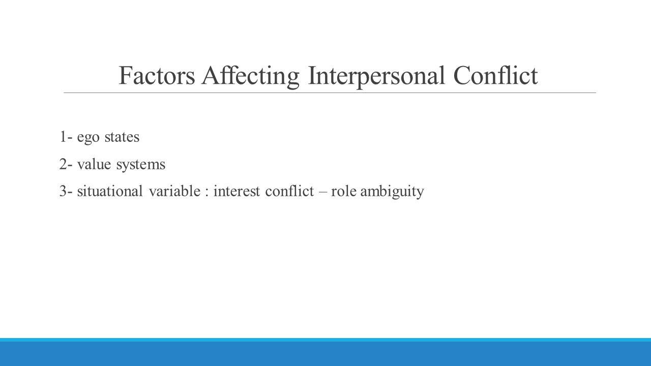 Factors Affecting Interpersonal Conflict