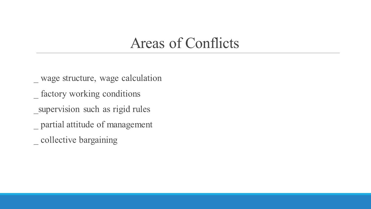 Areas of Conflicts
