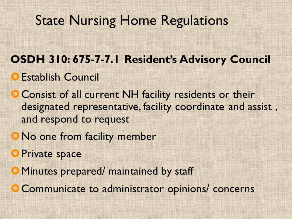 State Nursing Home Regulations