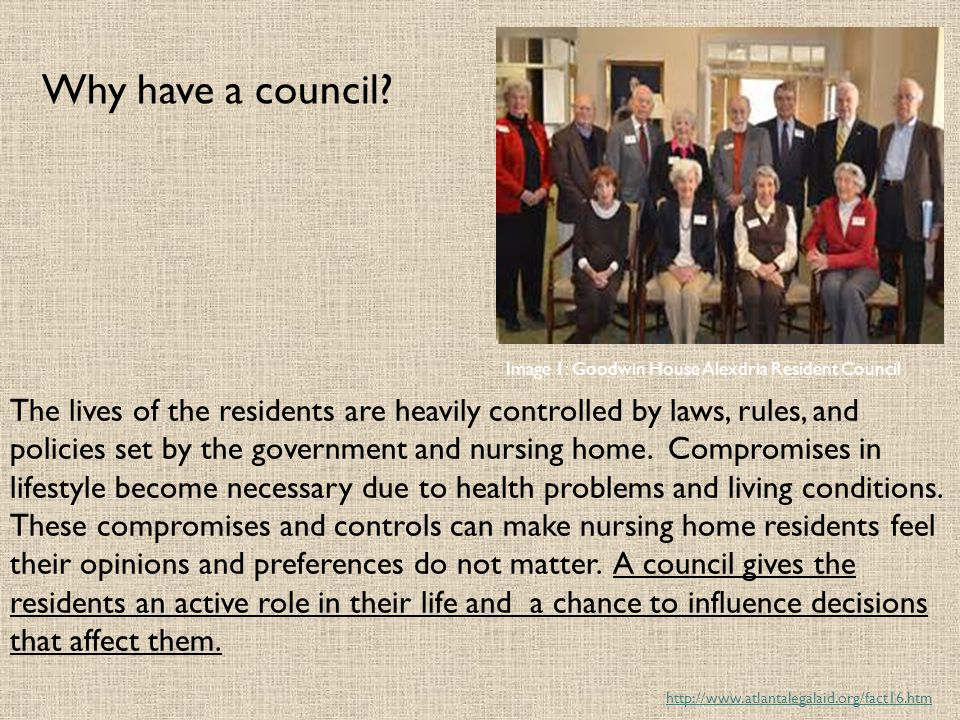 Why have a council Image 1: Goodwin House Alexdria Resident Council.