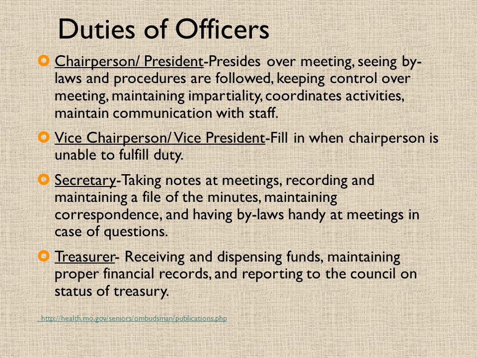 Duties of Officers