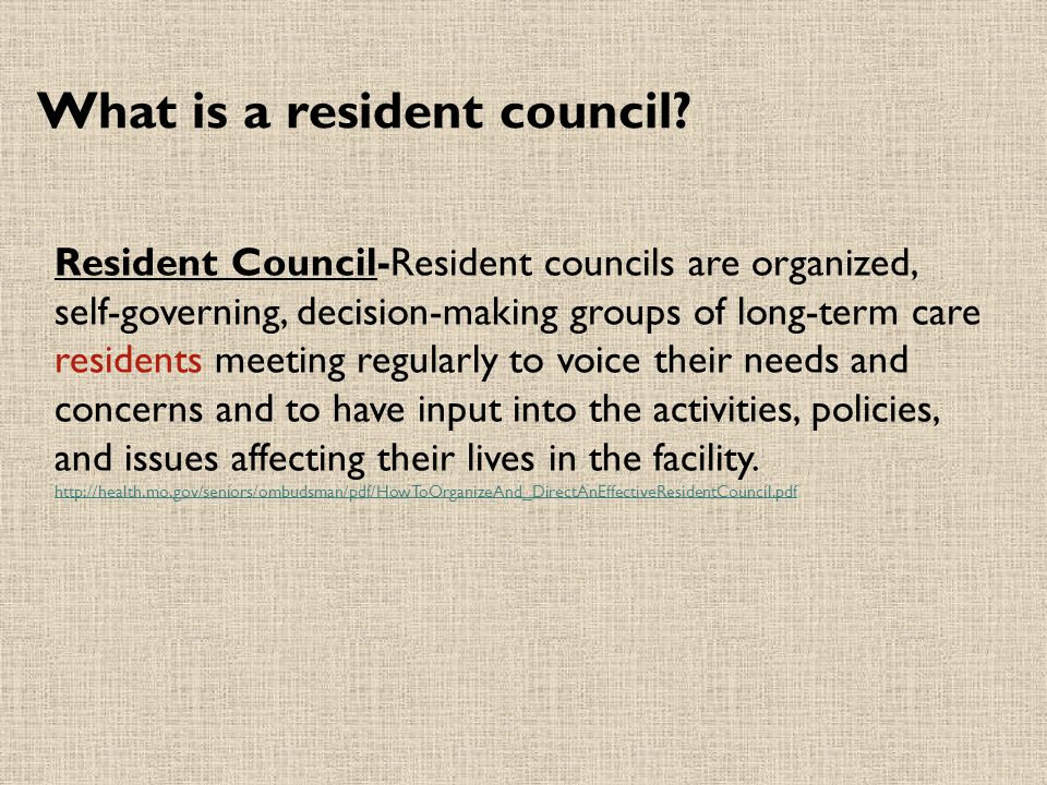 What is a resident council