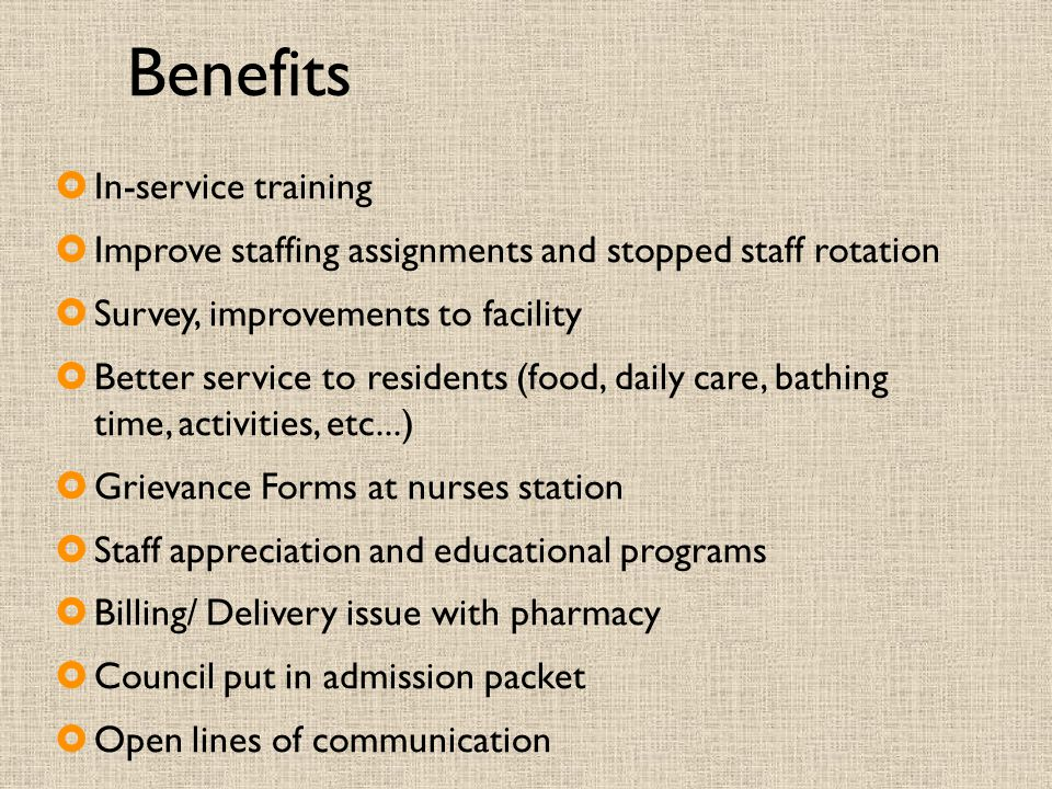 Benefits In-service training