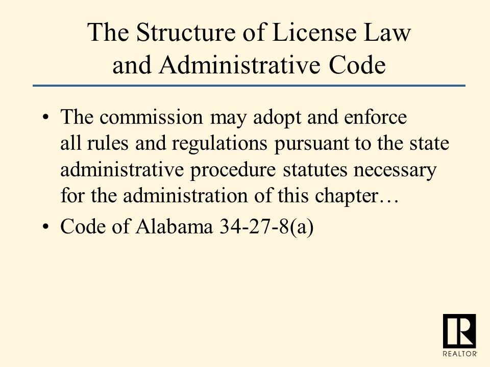 The Structure of License Law and Administrative Code