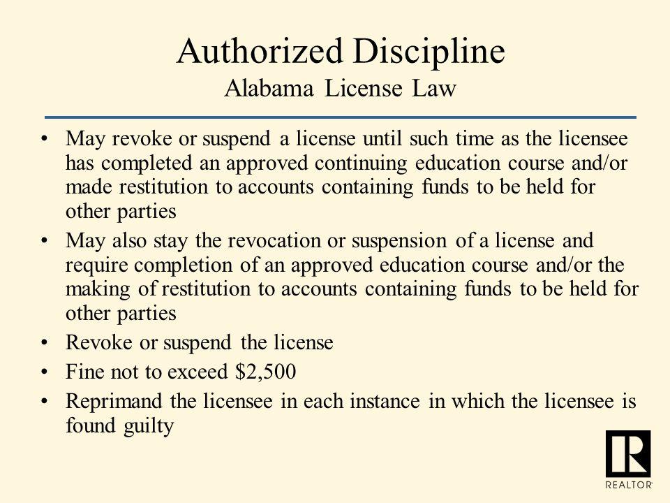 Authorized Discipline Alabama License Law