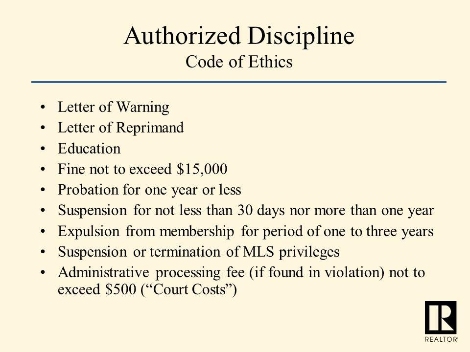 Authorized Discipline Code of Ethics