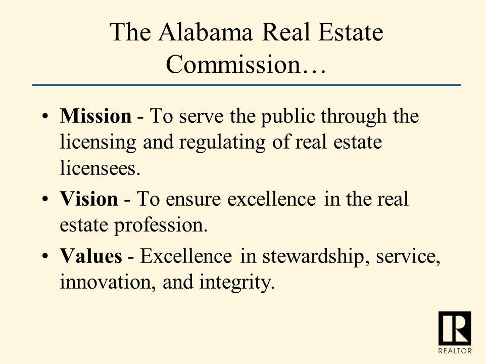 The Alabama Real Estate Commission…