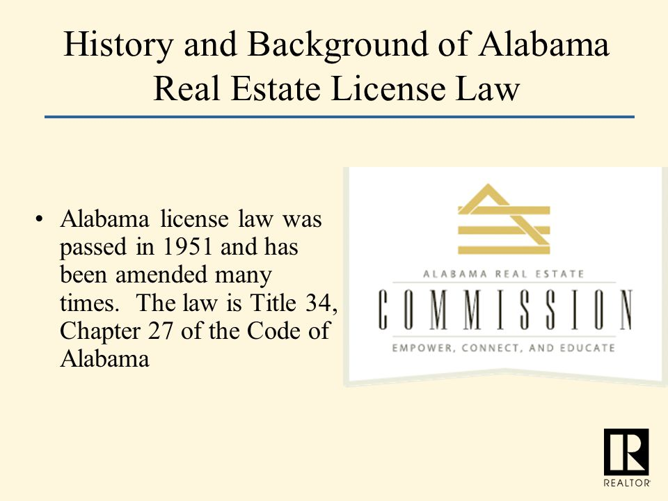 History and Background of Alabama Real Estate License Law