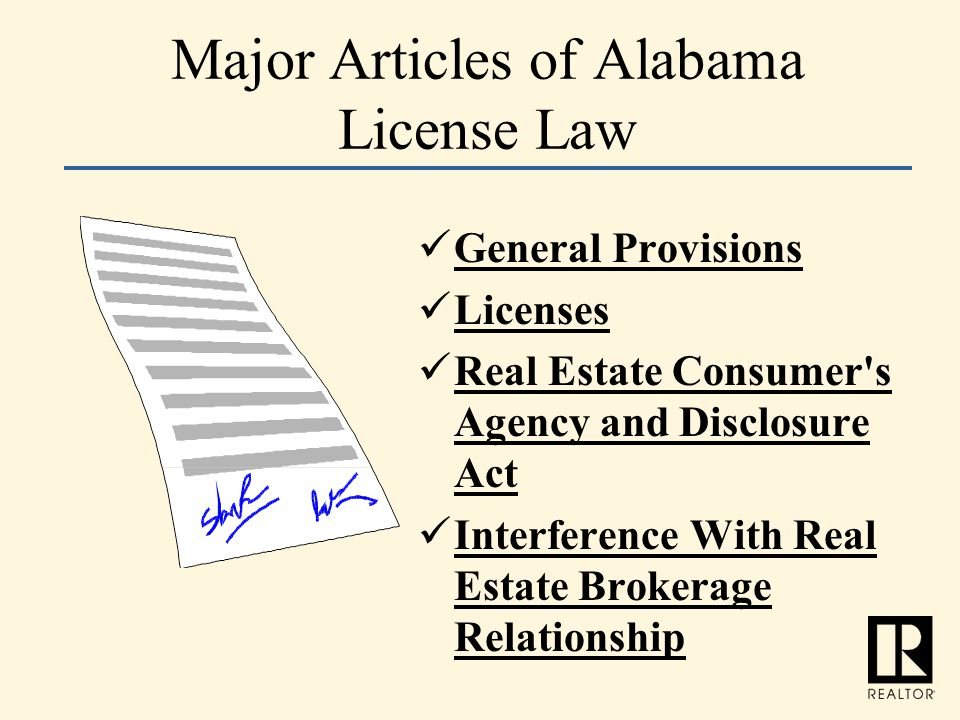 Major Articles of Alabama License Law