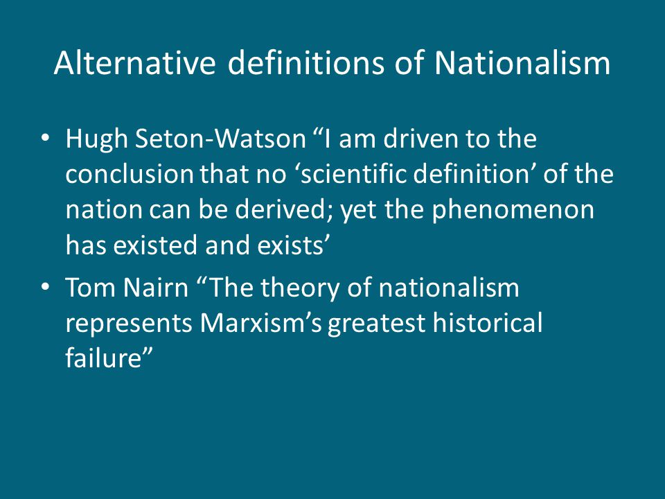 Alternative definitions of Nationalism