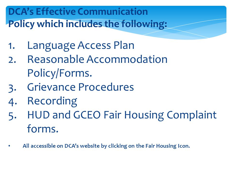 Reasonable Accommodation Policy/Forms. Grievance Procedures Recording