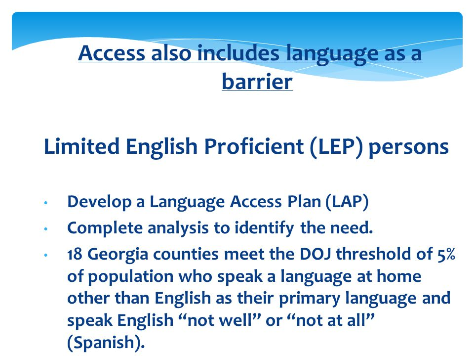 Access also includes language as a barrier