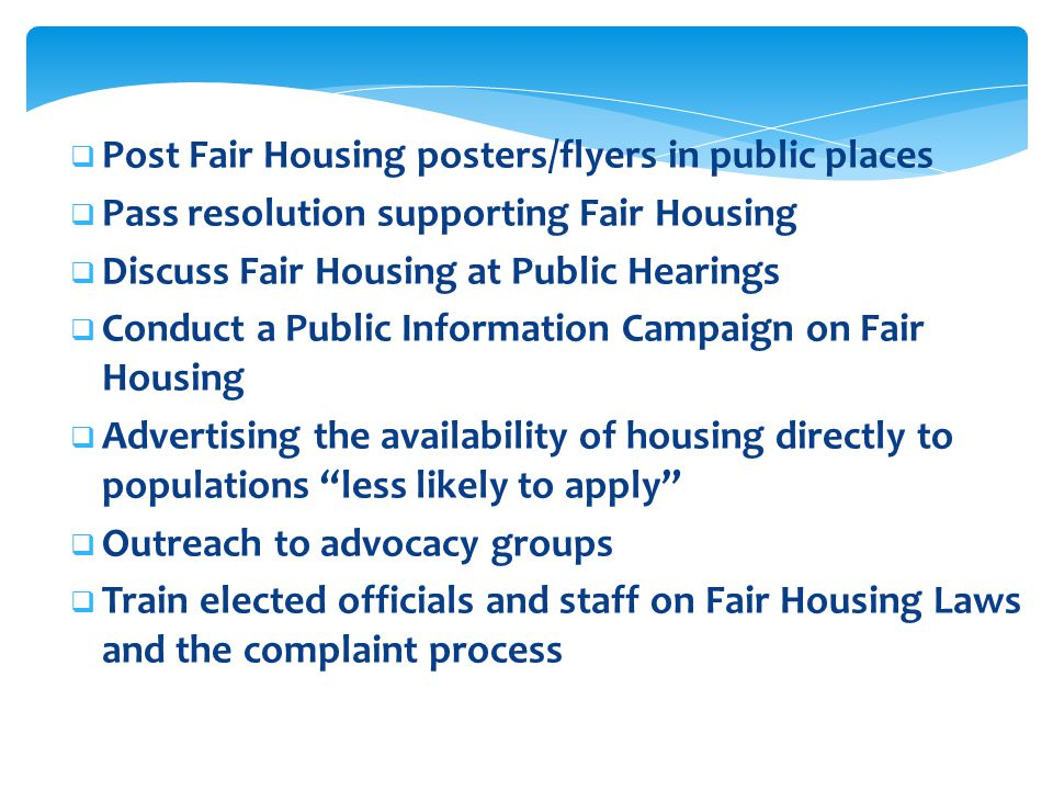 Post Fair Housing posters/flyers in public places