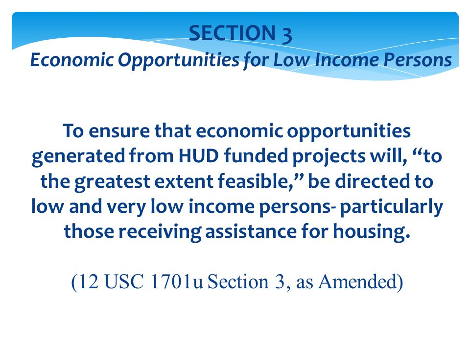 Economic Opportunities for Low Income Persons