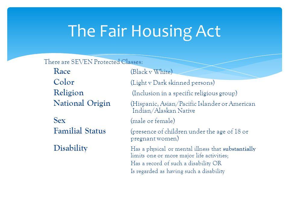 The Fair Housing Act Race (Black v White)